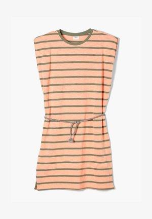 Jersey dress - neon peach stripes