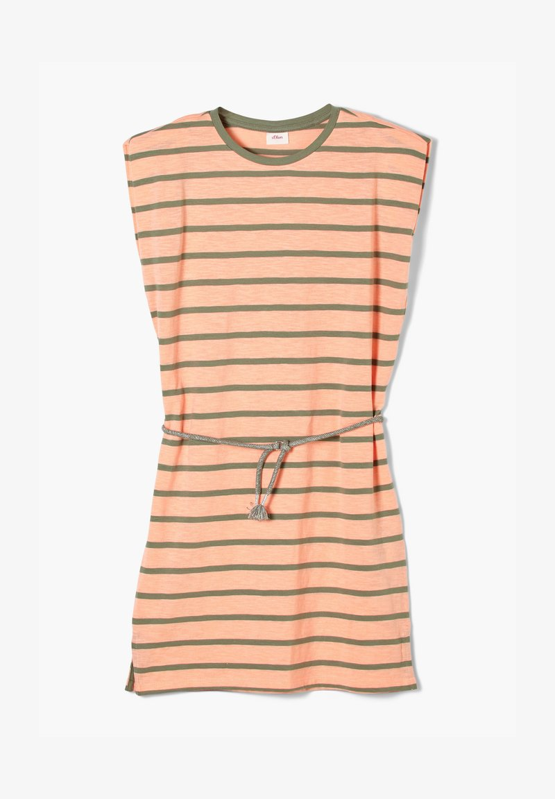 s.Oliver - Jersey dress - neon peach stripes
