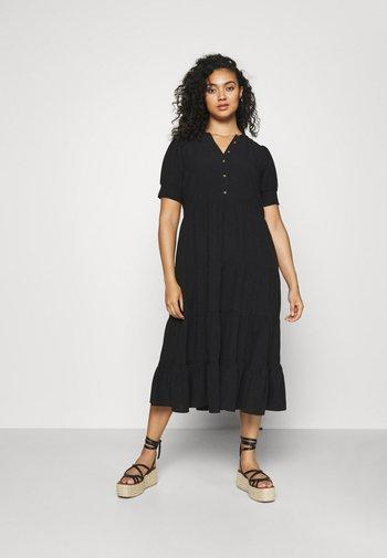 JADE CURVE TIERED SHIRT DRESS - Maxi dress - black