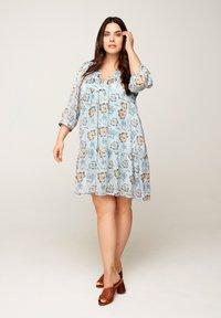 Zizzi - FLORAL PRINT  - Day dress - light blue - 1