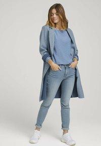 TOM TAILOR DENIM - Long sleeved top - mid blue melange white stripe - 1