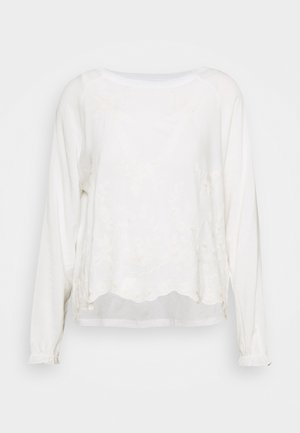 LONGSLEEVE WITH BROIDERIE ANGLAISE - Blůza - pearl white