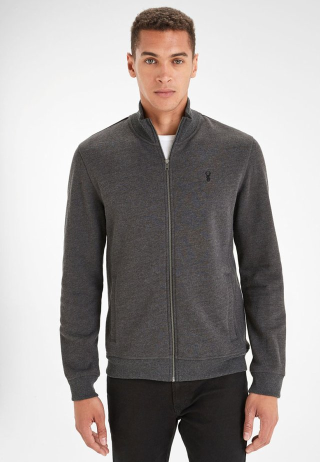 Mikina na zip - dark grey