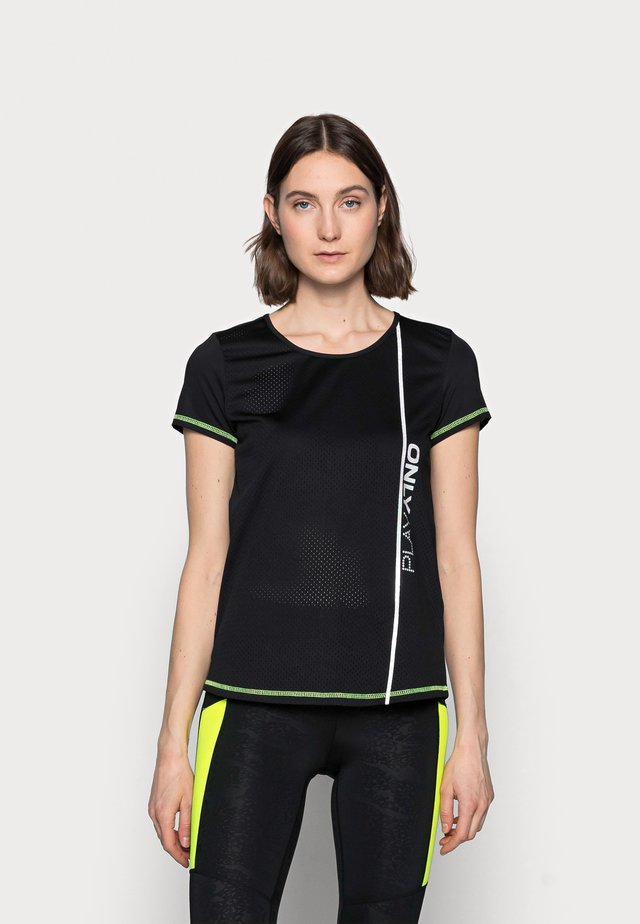 ONPALIX TRAINING TEE - T-shirt print - black/safety yellow/iridescent