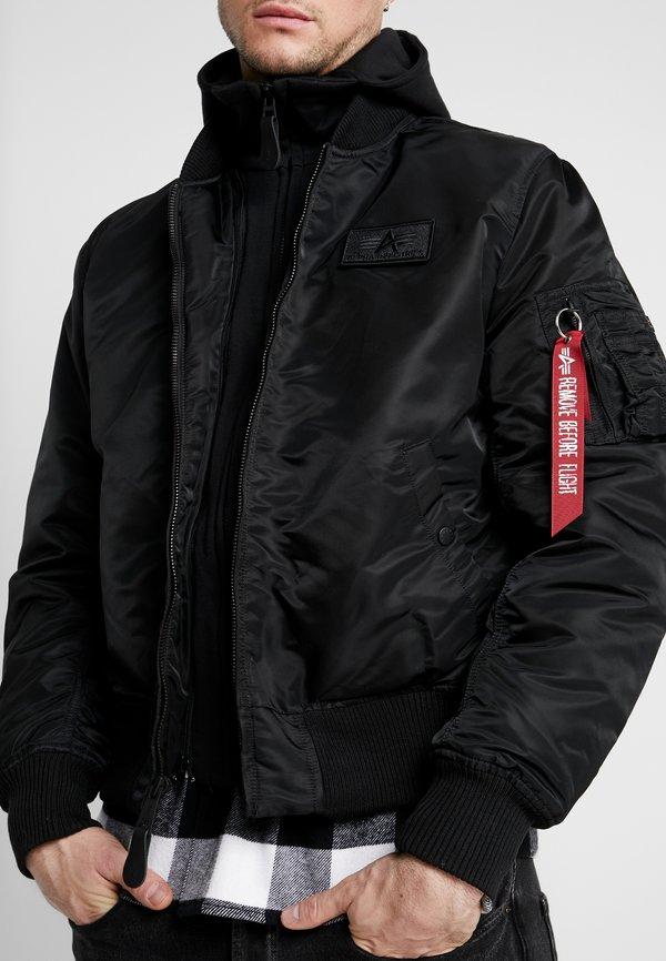 Alpha Industries TEC BACK PRINT - Kurtka Bomber - black/red/czarny Odzież Męska ZQSC