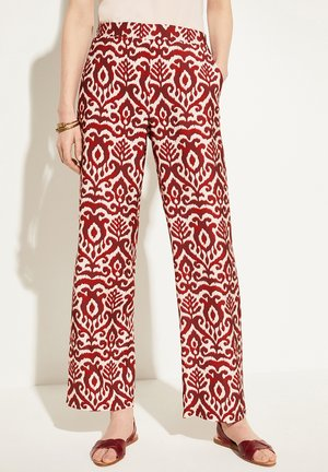 MARLENEHOSE MIT ORNAMENTMUSTER - Trousers - deep red brushed ornament