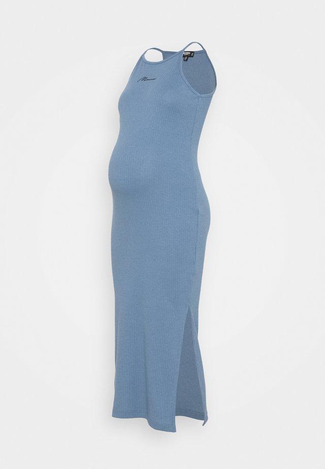 SCRIPT RACER MIDI DRESS - Pletené šaty - blue