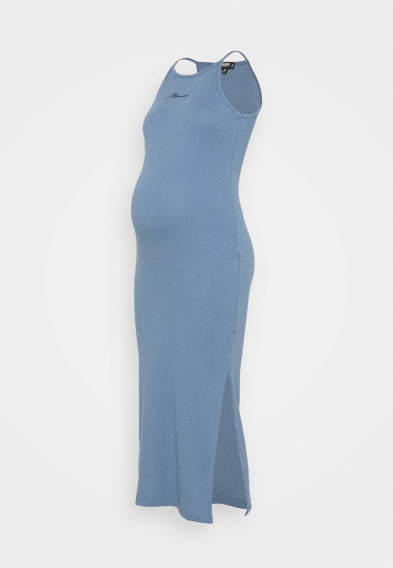 Missguided Maternity - SCRIPT RACER MIDI DRESS - Pletené šaty - blue