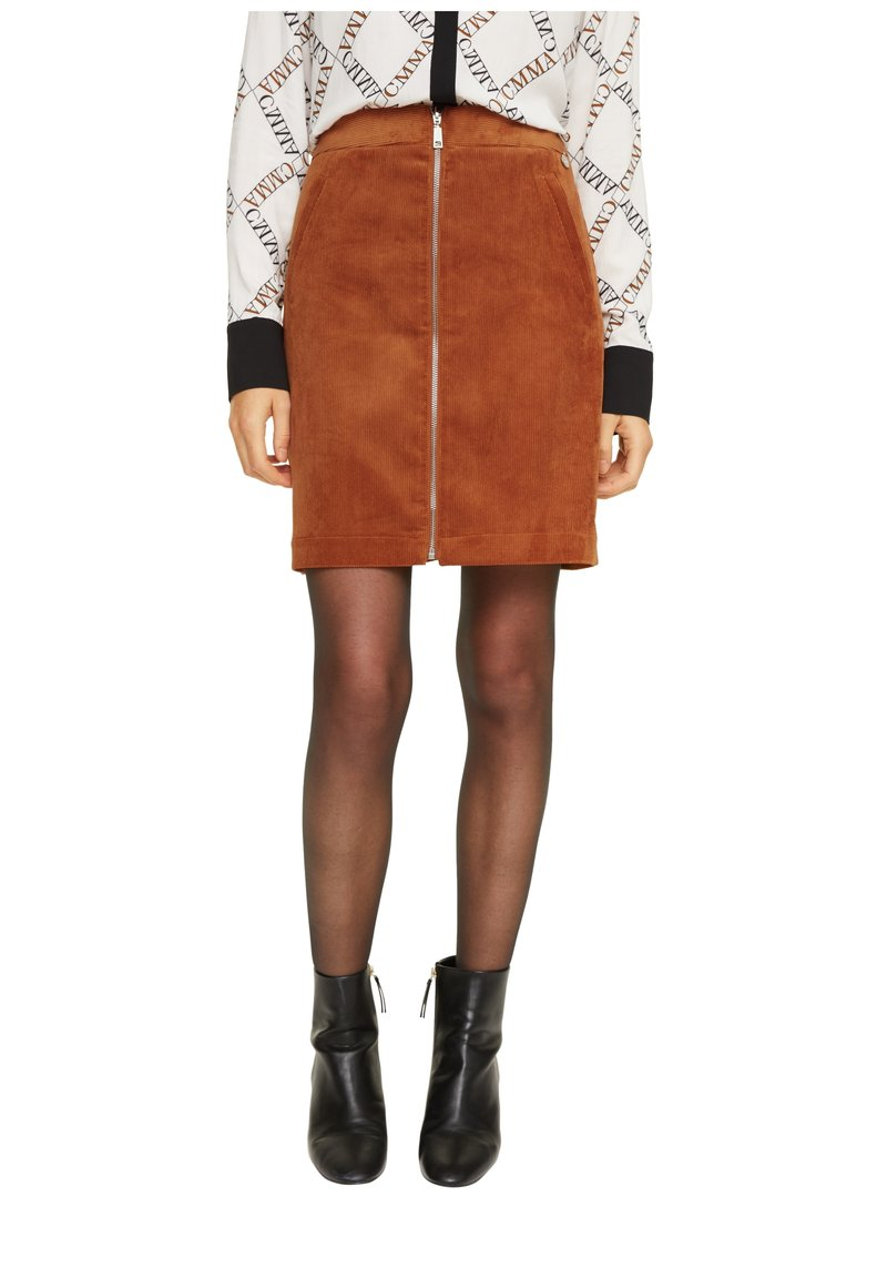 comma - MIT REISSVERSCHLUSS - A-line skirt - light cognac