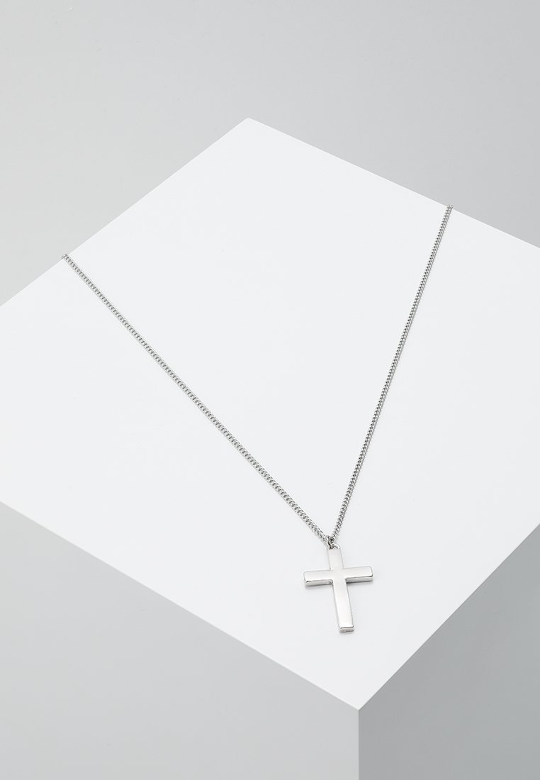Topman - CROSS NECKLACE - Naszyjnik - silver-coloured