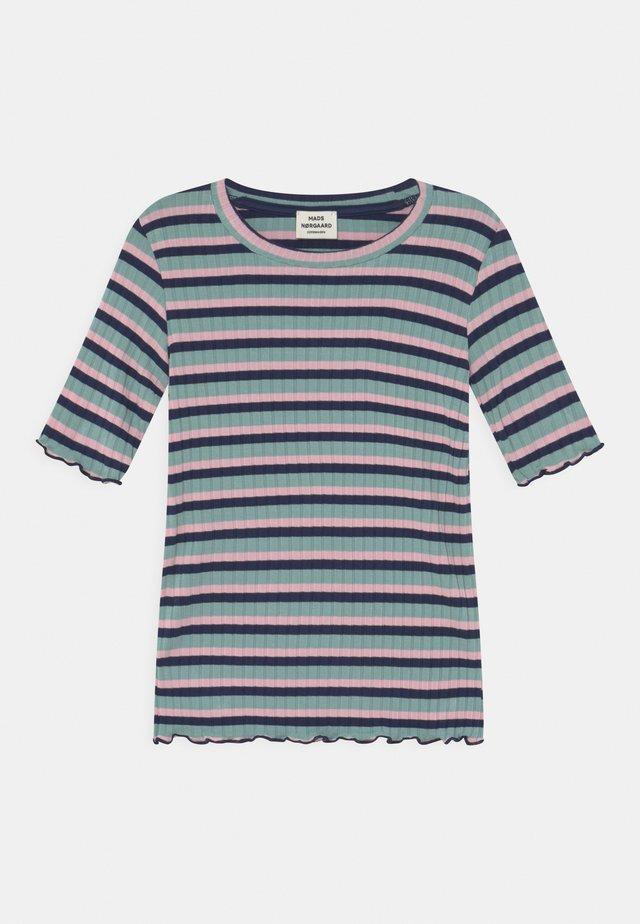 STRIPE TUVIANA UNISEX - Print T-shirt - aqua/pink/navy