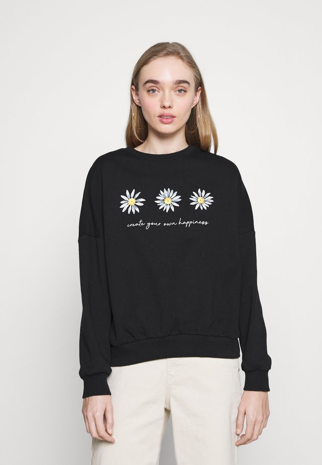 Printed Crew Neck Sweatshirt - Sweater - black