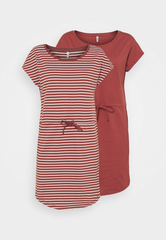 ONLMAY LIFE DRESS 2 PACK - Jerseyklänning - apple butter/thin stripe cd/applebu