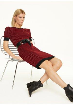 Jumper dress - red bubble knit