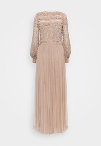 Maya Deluxe - BLOUSON SLEEVE DELICATE SEQUIN MAXI DRESS WITH RUFFLES - Ballkjole - taupe blush - 1