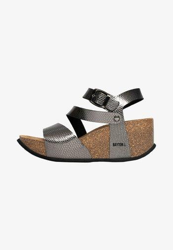 MELILLA - Wedge sandals - dark grey