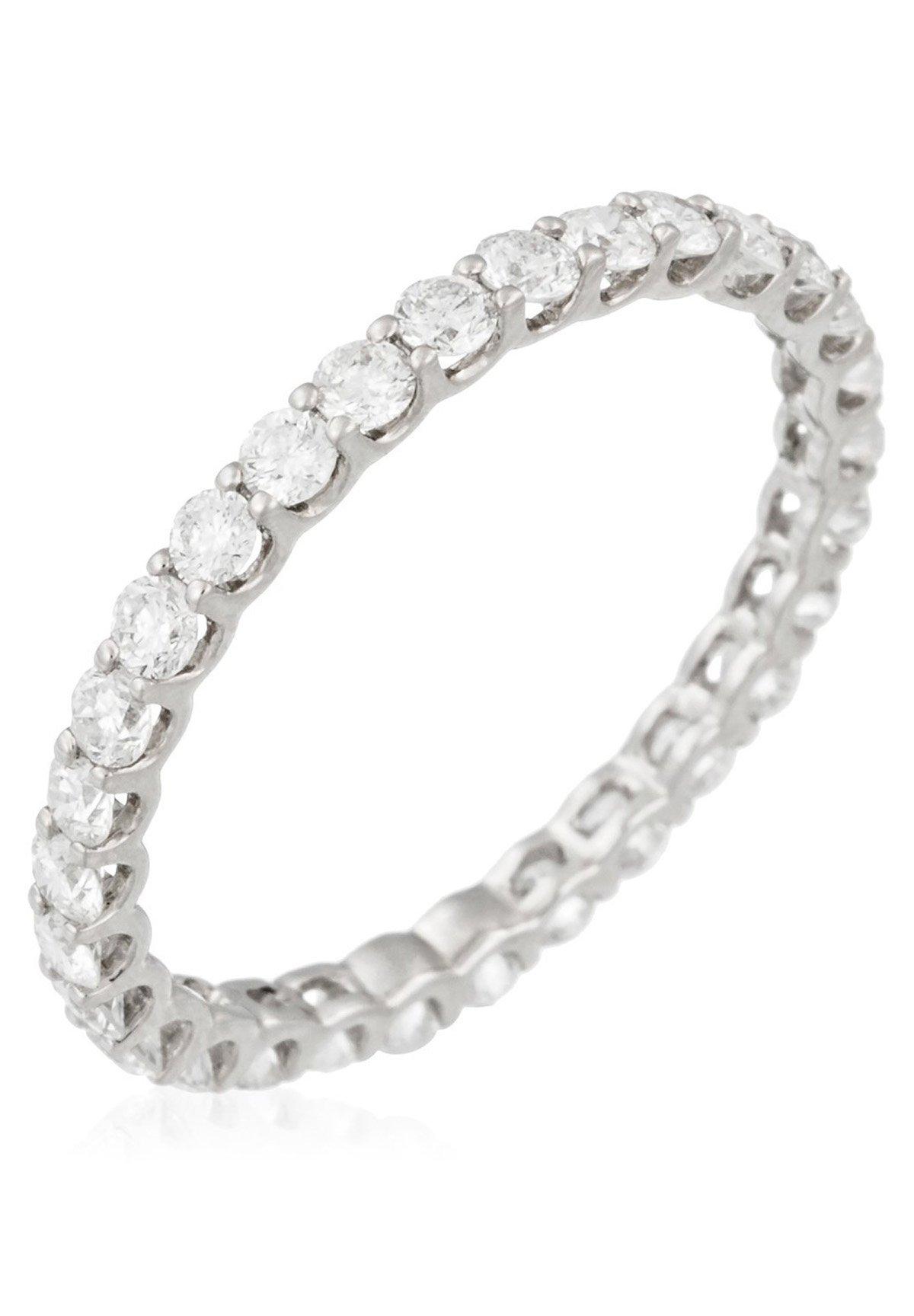 Damen WHITE GOLD RING 9K CERTIFIED 30 DIAMONDS HSI 1 CT - Ring