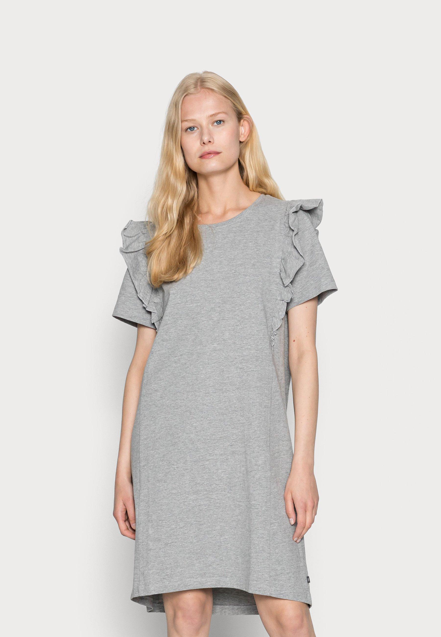 Damen FRILL DRESS - Jerseykleid - medium grey