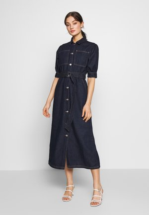 PUFF SLEEVE BELTED DENIM DRESS - Vestito di jeans - dark blue