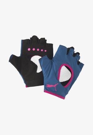 Fingerless gloves - digi-blue-luminous pink