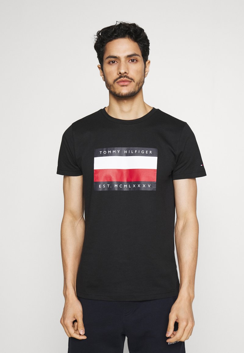 Tommy Hilfiger - CORP STRIPE BOX TEE - T-shirt con stampa - black