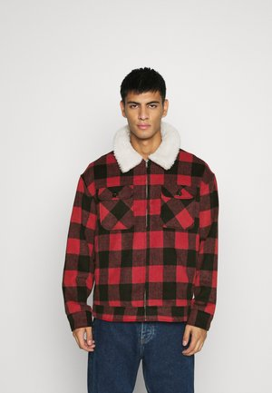 CHECK COLLAR WESTERN - Tunn jacka - red