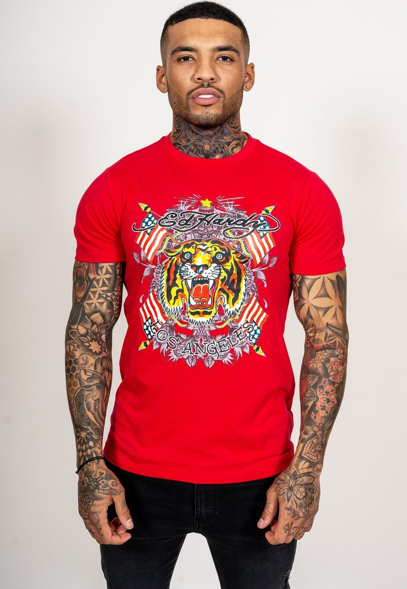 Ed Hardy - TIGER LOS T-SHIRT - Print T-shirt - red