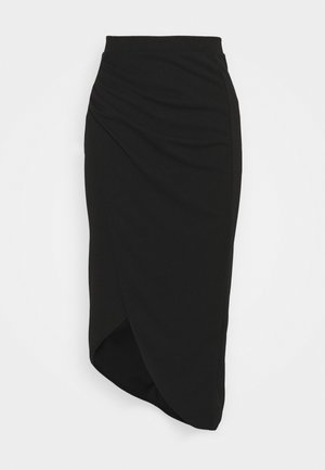HATTIE SIDE WRAI MIDI SKIRT - Jupe crayon - black