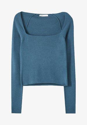 MIT KASTENAUSSCHNITT - Long sleeved top - blue