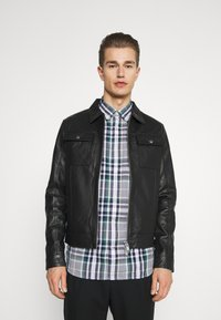 Selected Homme - SLHICONIC BLOUSON  - Leather jacket - black - 0