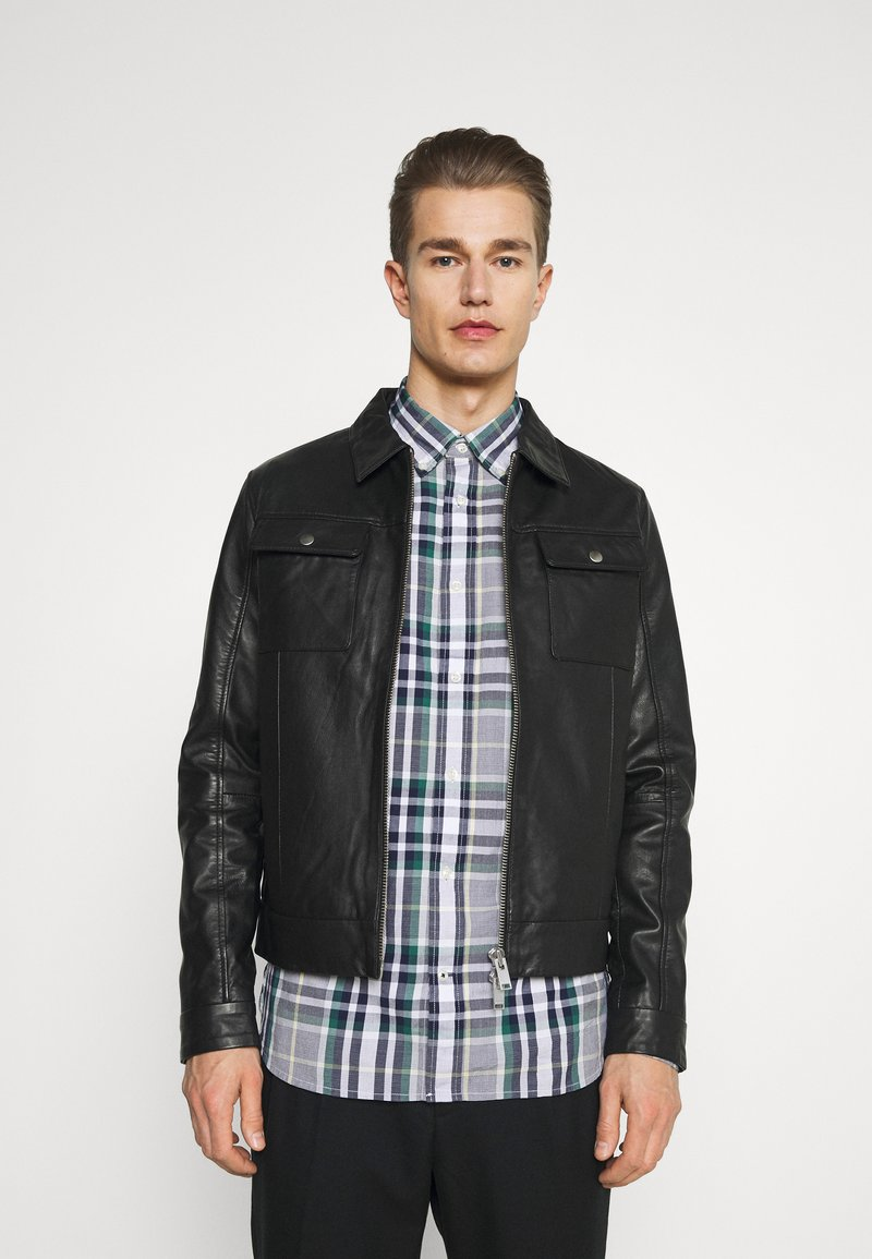 Selected Homme - SLHICONIC BLOUSON  - Kožená bunda - black