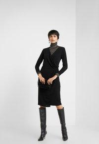 Bruuns Bazaar - METALLIC RIBA DRESS - Day dress - black/silver - 1