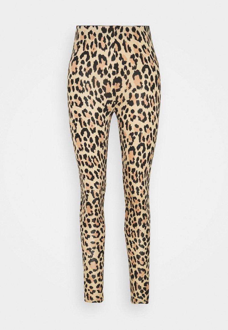 Vila - VIBE PRINT - Leggings - Trousers - biege/black