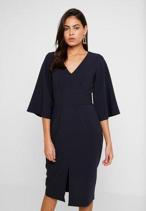 V NECK FLARED SLEEVES PENCIL DRESS - Shift dress - navy