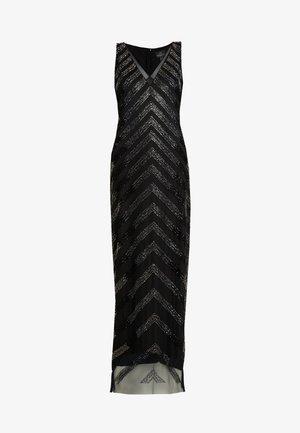 BEADED V NECK COLUMN - Occasion wear - black/gunmetal