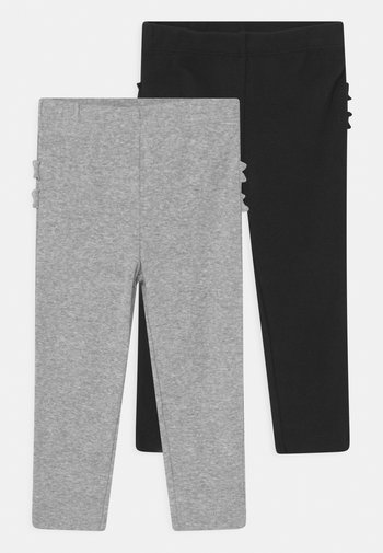 2 PACK RUFFLE - Leggings - Trousers - black/mottled grey
