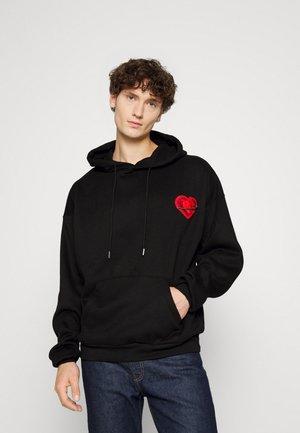 HEART PINNED HOODIE - Sweater - black