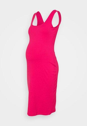 BODYCON MIDI DRESS WITH WIDE STRAPS AND LOW SQUARE NECKL - Žerzejové šaty - hot pink