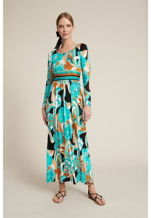 Vestido largo - var turchese/geometrico