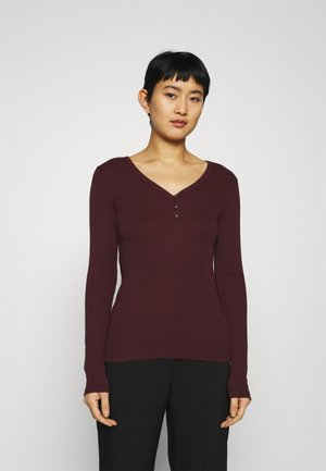 HENLEY - Long sleeved top - pinot noir