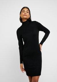 Saint Tropez - DRESS HIGH NECK - Abito in maglia - black - 0