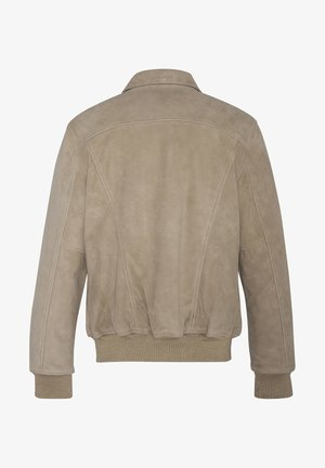 EFFET VELOURS - Veste en cuir - beige