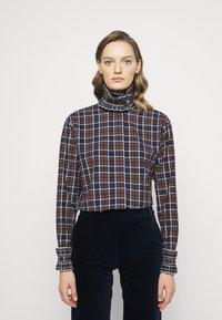 Victoria Beckham - RUFFLE - Button-down blouse - brown/navy - 0