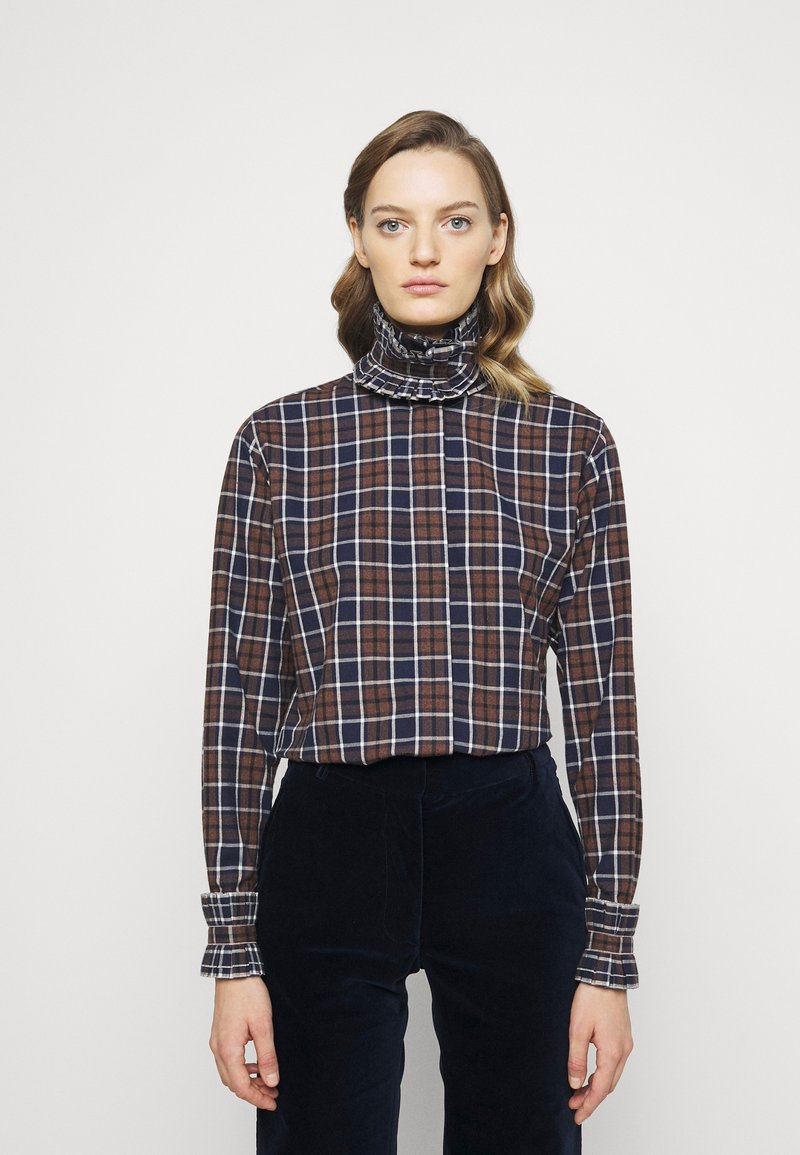 Victoria Beckham - RUFFLE - Button-down blouse - brown/navy