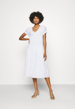 SEAMED TIERED DRESS - Day dress - white