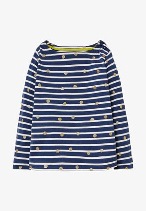 BRETON - Long sleeved top - navy/naturweiß, glitzertupfen