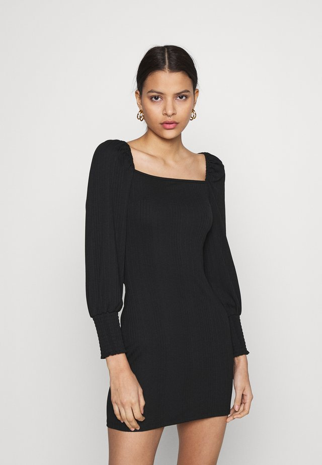 SQUARE NECK MINI DRESSES - Jerseyjurk - black
