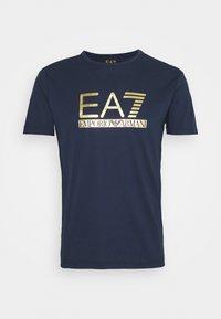 Print T-shirt - dark blue/gold