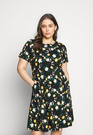 FLORAL DRESS - Jersey dress - black/yellow