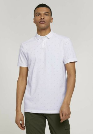 Poloshirt - white mini palm leaf print